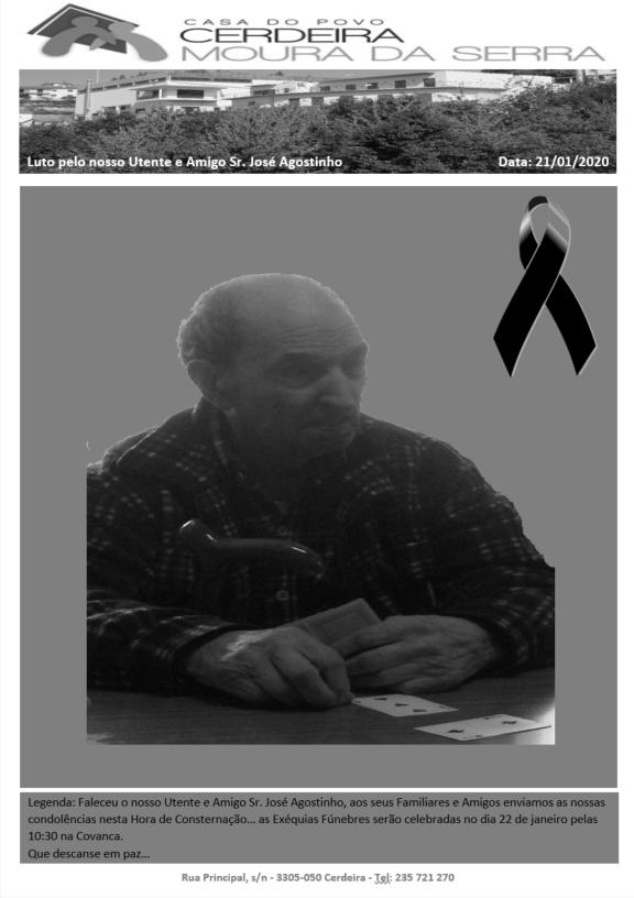 Faleceu o nosso Utente e Amigo Sr. José Agostinho :'(