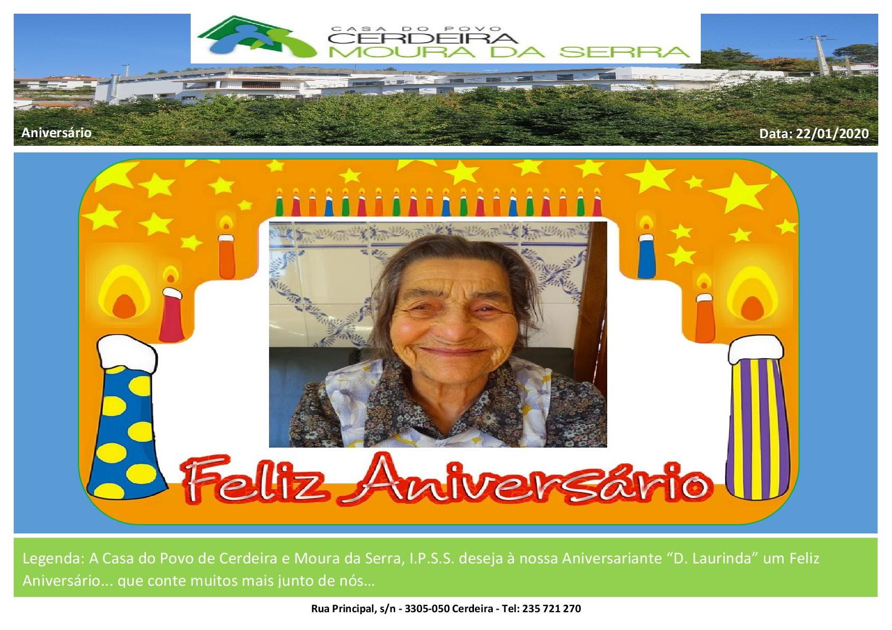 Feliz Aniversário à nossa Utente D. Laurinda