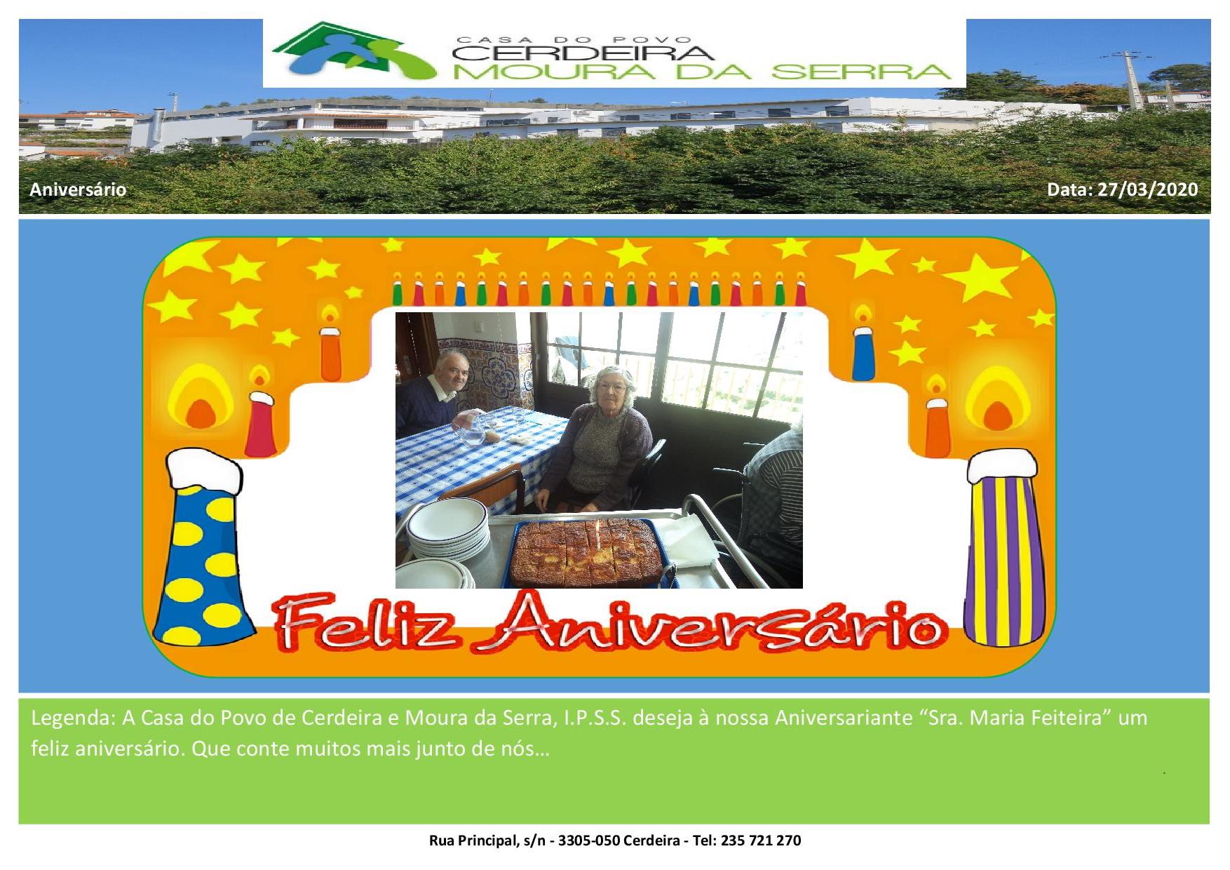 Feliz Aniversário à nossa Utente Sra. Maria Feiteira