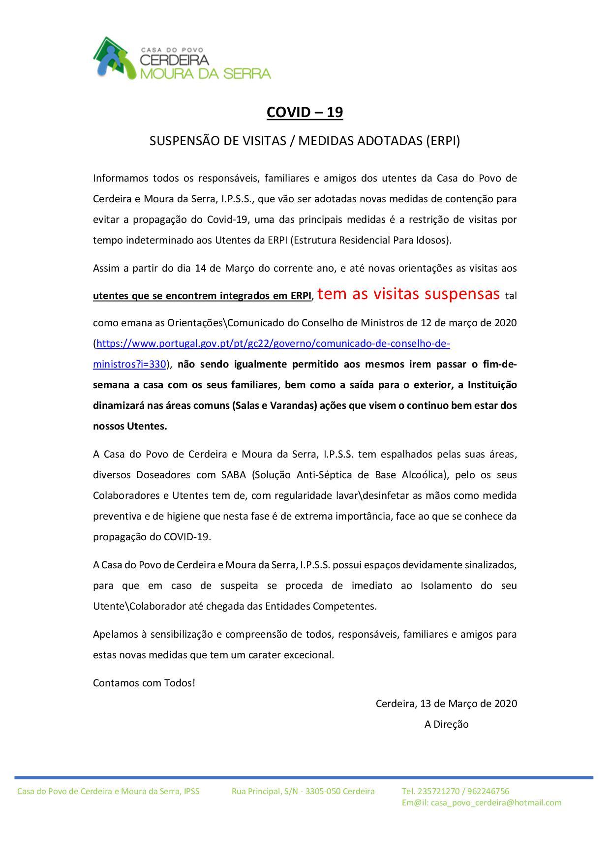 SUSPENSÃO DE VISITAS NO ERPI – AVISO IMPORTANTE (COVID-19)
