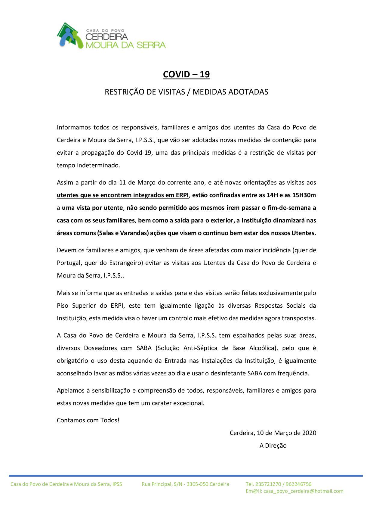 AVISO IMPORTANTE (COVID-19)