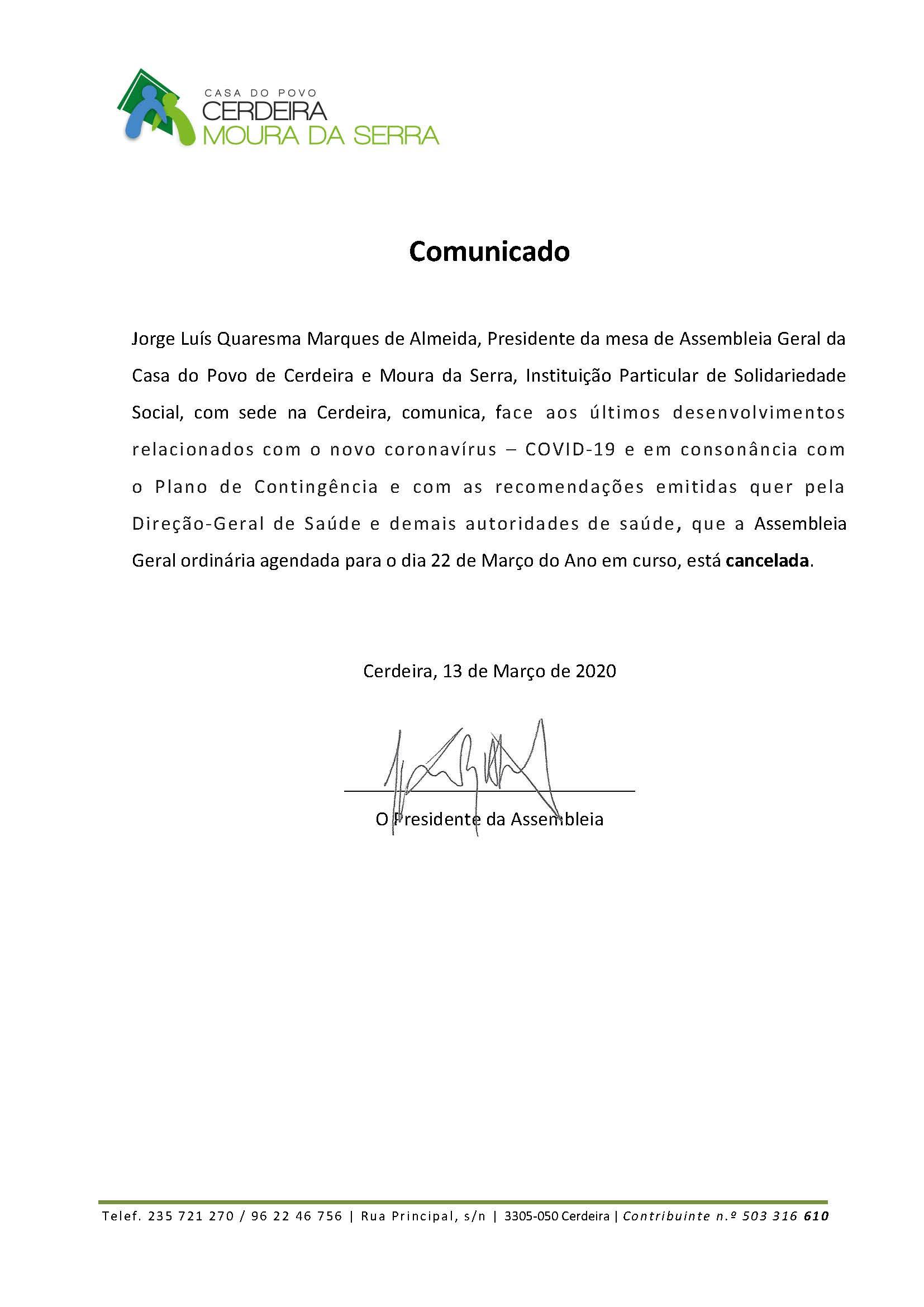 CANCELADA – Assembleia Geral Ordinária