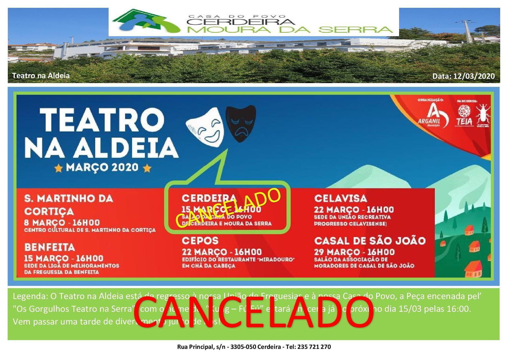 CANCELADO – Teatro na Aldeia na nossa Casa do Povo de Cerdeira e Moura da Serra, I.P.S.S.