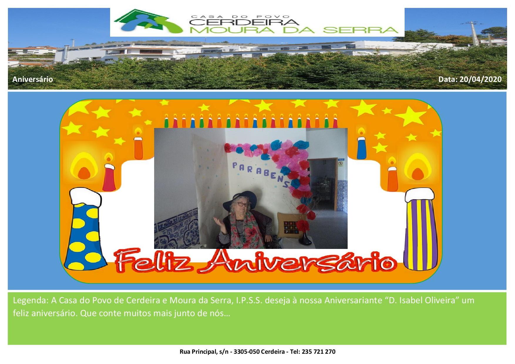 """Feliz aniversário à nossa Utente """"D. Isabel Oliveira"""""""