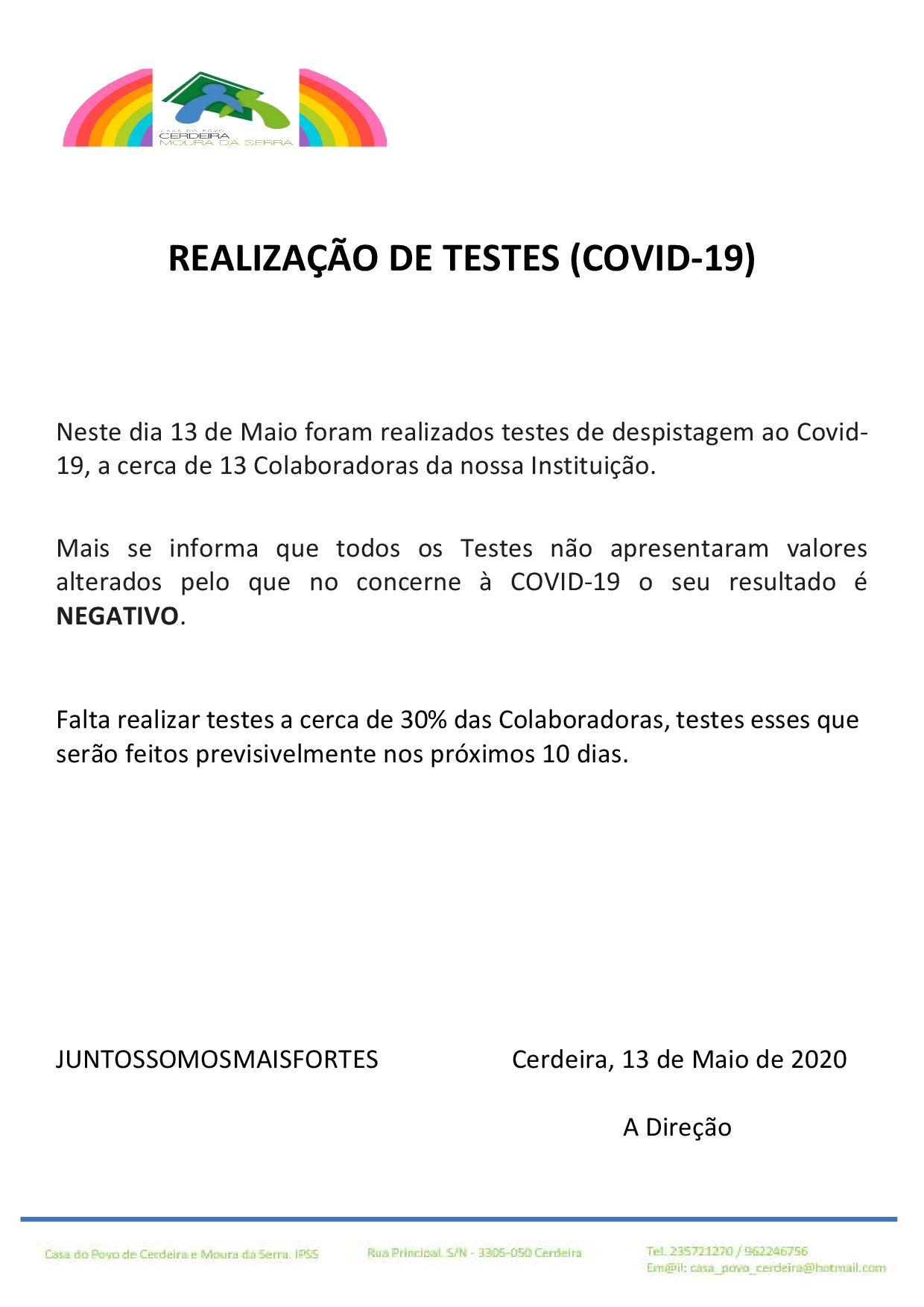 Casa do Povo de Cerdeira e Moura da Serra,I.P.S.S. – REALIZAÇÃO DE TESTES (COVID-19)