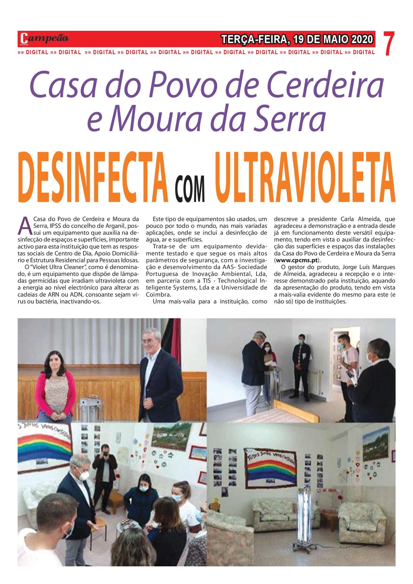 Casa do Povo de Cerdeira e Moura da Serra, I.P.S.S. foi noticia no Vespertino Campeão das Províncias