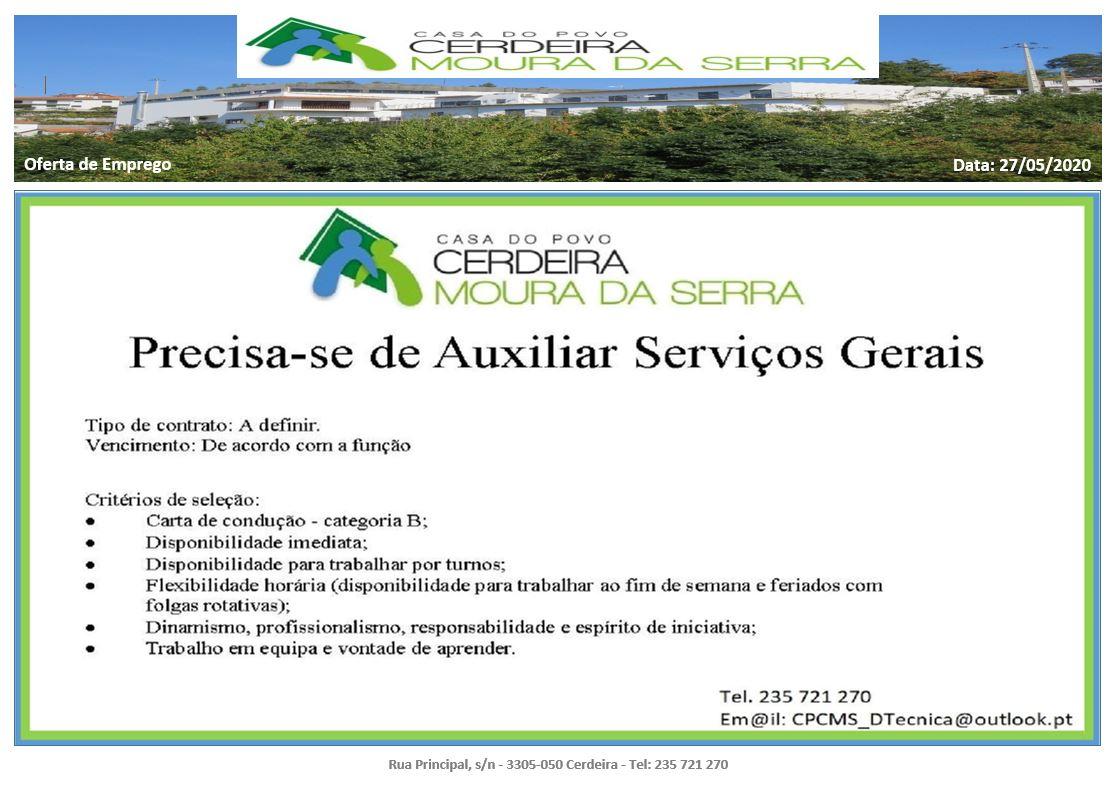 Casa do Povo de Cerdeira e Moura da Serra, I.P.S.S. – Oferta de Emprego em 27/05/2020