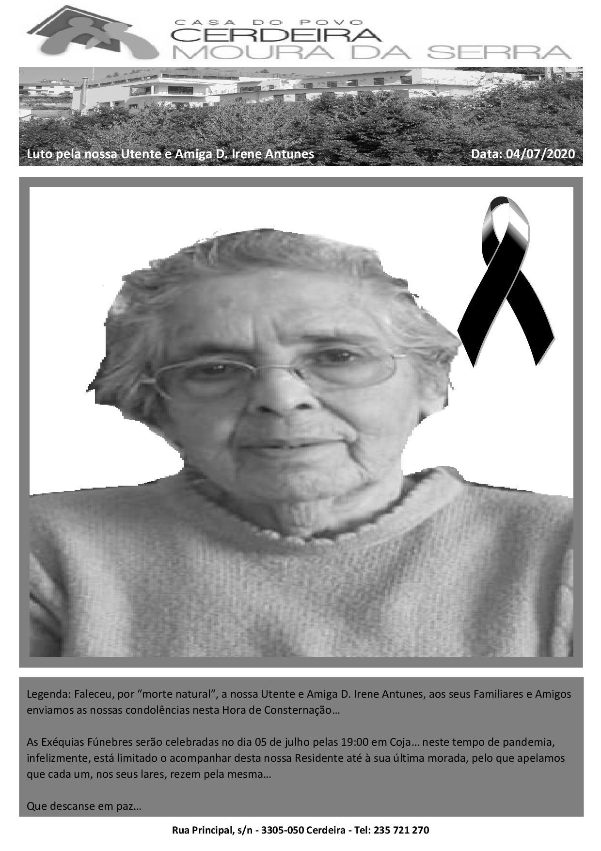 """Faleceu, por """"morte natural"""", a nossa Utente e Amiga D. Irene Antunes"""