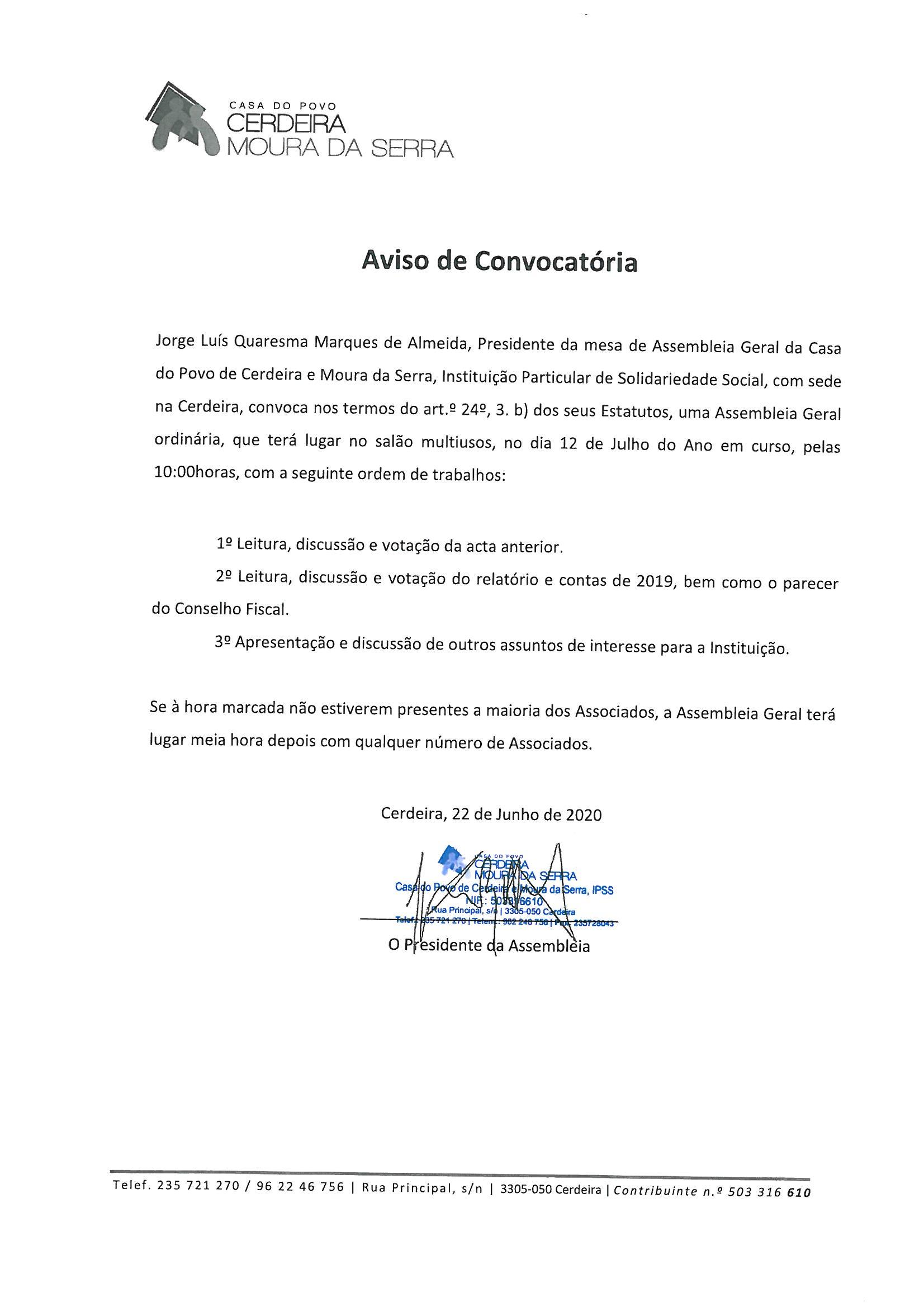 Casa do Povo de Cerdeira e Moura da Serra, I.P.S.S – Assembleia Geral dia 12 de Julho de 2020