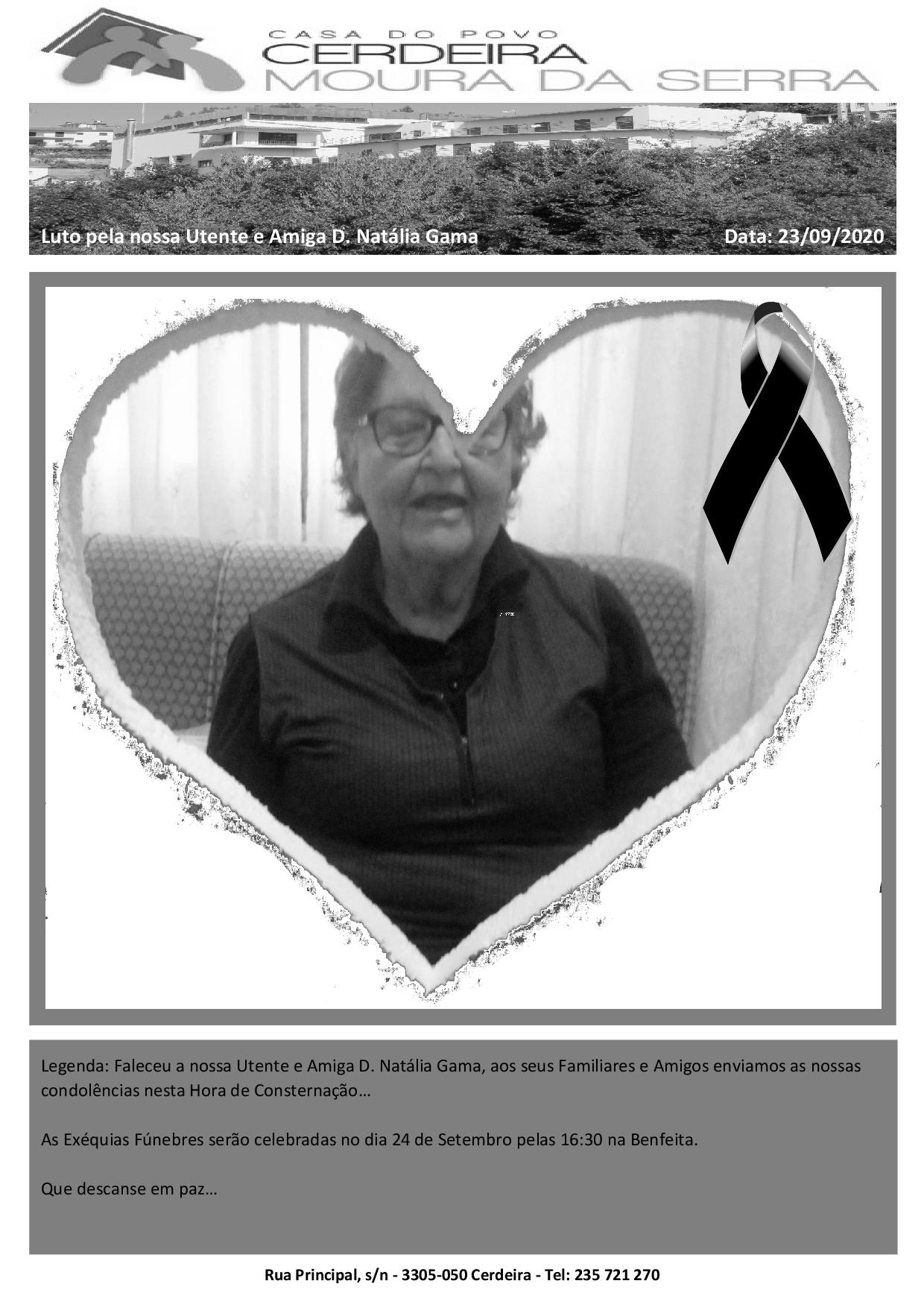 Faleceu a nossa Utente e Amiga D. Natália Gama