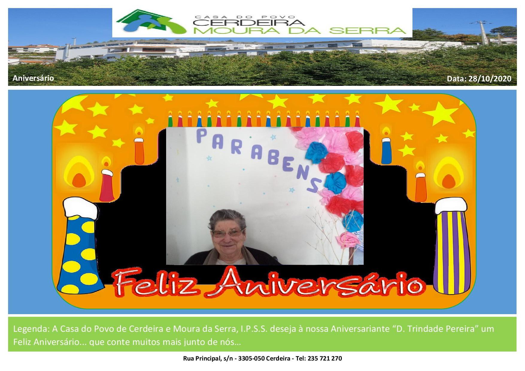 """Feliz Aniversário à nossa Utente """"D. Trindade Pereira"""""""