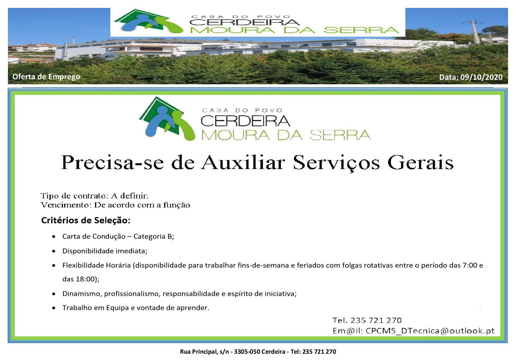 Casa do Povo de Cerdeira e Moura da Serra, I.P.S.S. – Oferta de Emprego em 09/10/2020