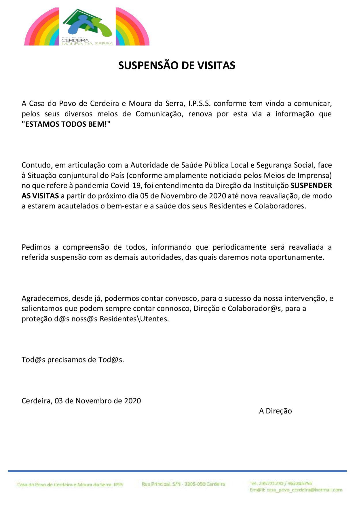 Casa do Povo de Cerdeira e Moura da Serra, I.P.S.S. – SUSPENSÃO DE VISITAS / ESTAMOS TODOS BEM