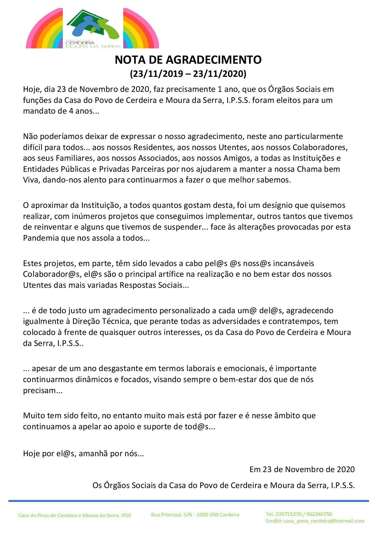 NOTA DE AGRADECIMENTO (23/11/2019 – 23/11/2020)