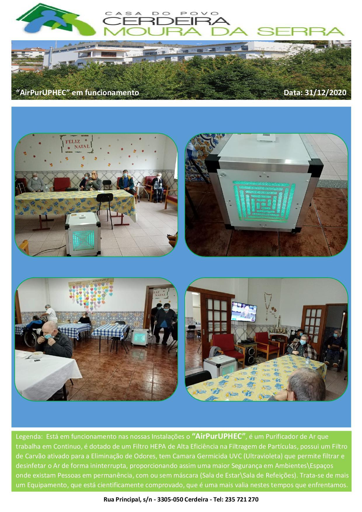 """Casa do Povo de Cerdeira e Moura da Serra, I.P.S.S. – """"AirPurUPHEC"""" em funcionamento"""