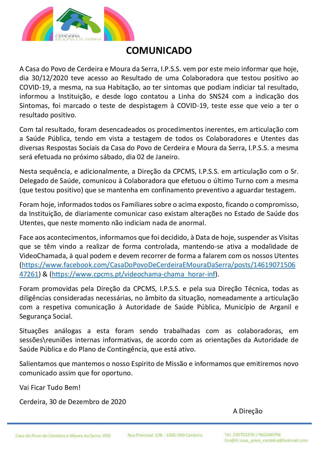 COMUNICADO em 30/12/2020