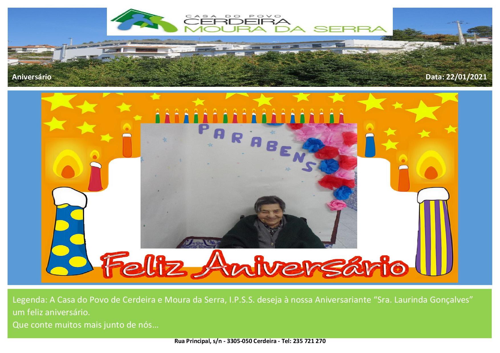 Feliz Aniversário Sra. Laurinda Gonçalves em 2021