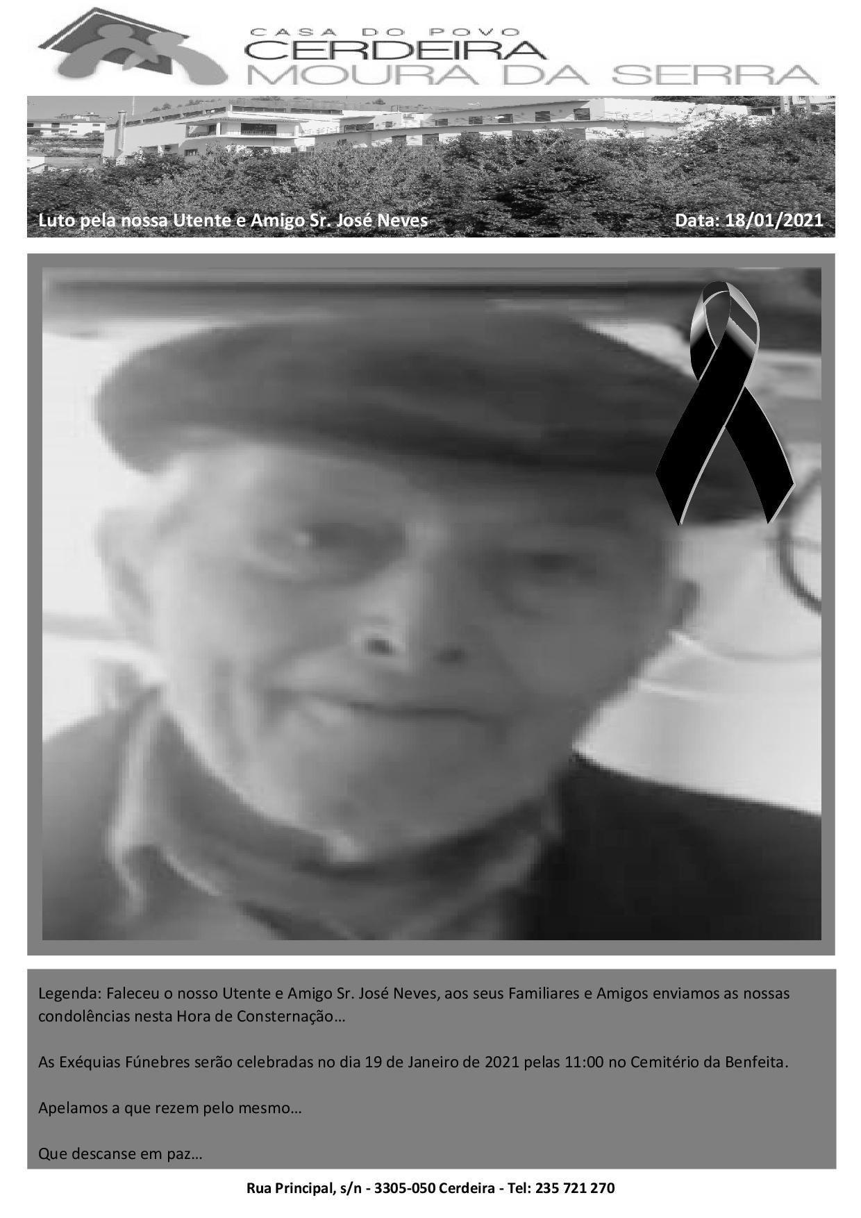 Faleceu o nosso Utente e Amigo Sr. José Neves