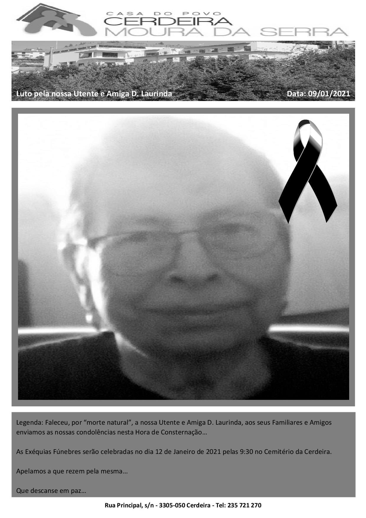 """Faleceu, por """"morte natural"""", a nossa Utente e Amiga D. Laurinda"""