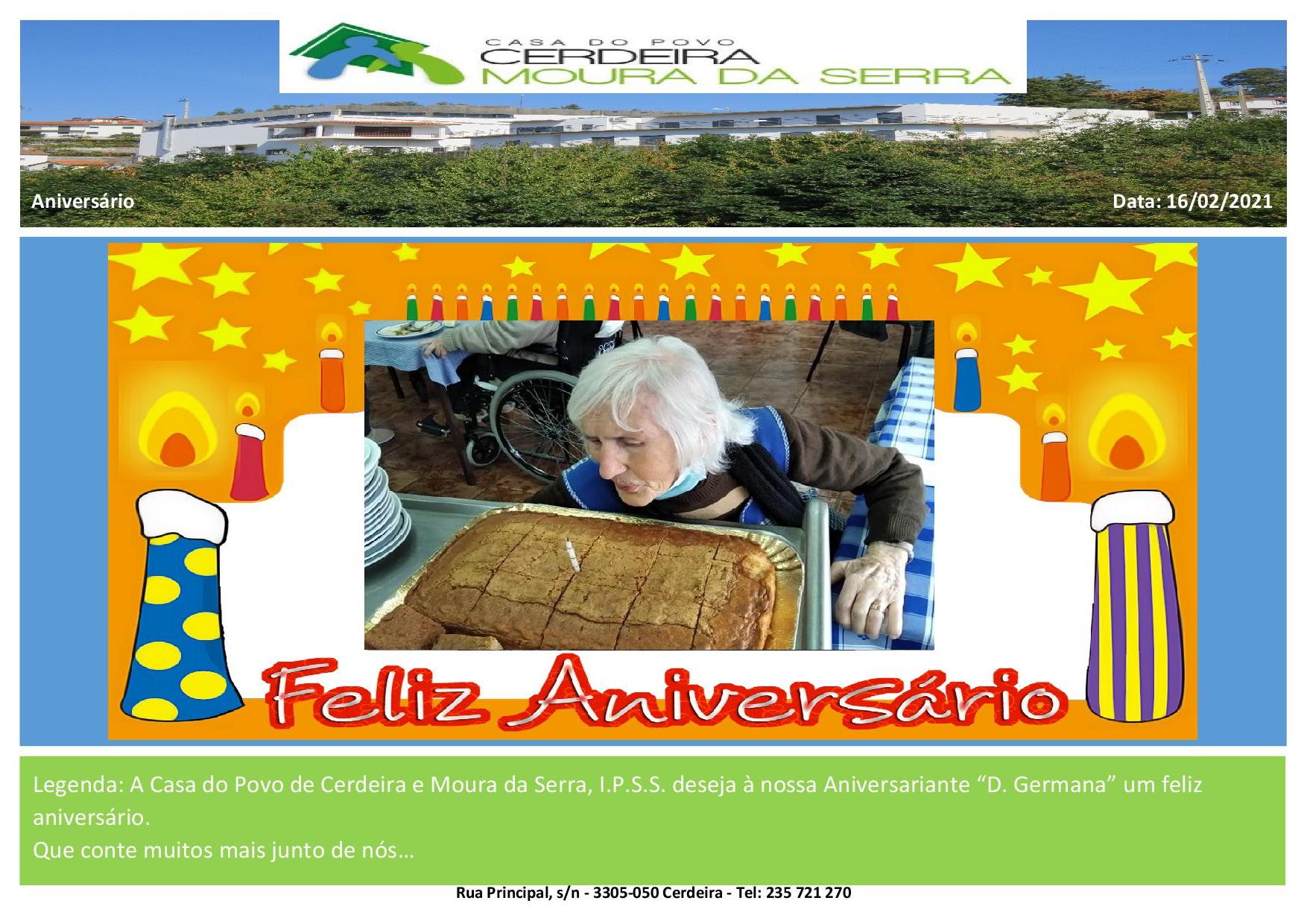 """Feliz Aniversário à nossa Utente """"D. Germana"""" em 2021"""