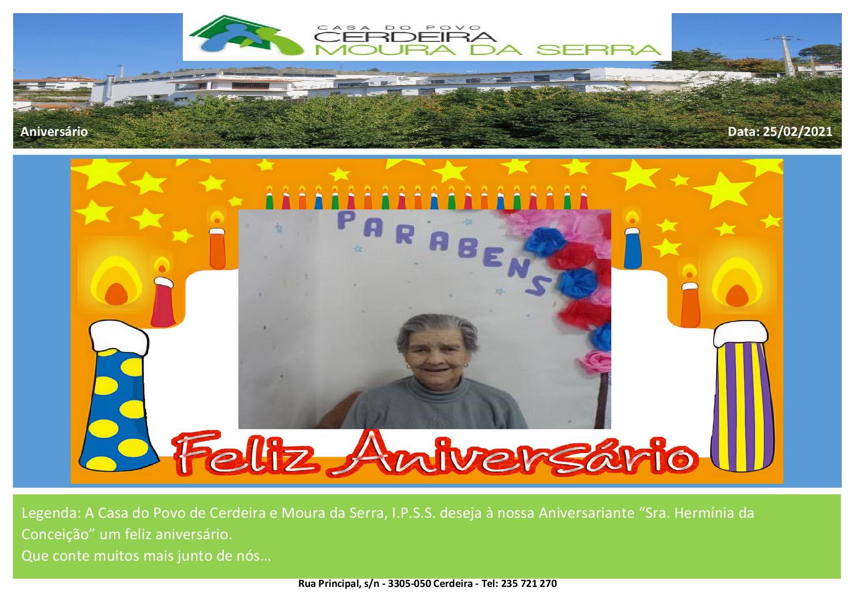 """Feliz Aniversário à nossa Aniversariante """"Sra. Hermínia da Conceição"""""""