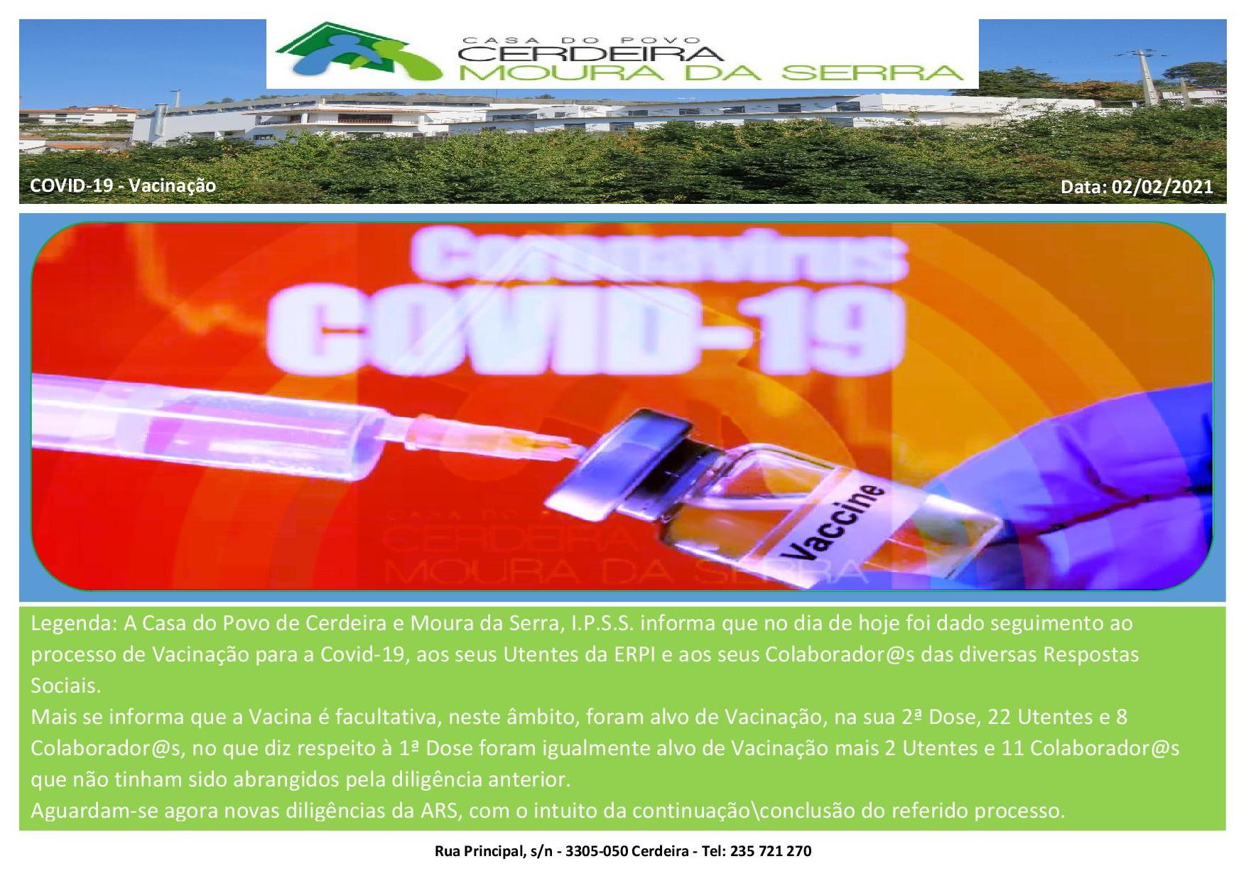 Casa do Povo de Cerdeira e Moura da Serra, I.P.S.S. – Vacinação 2 (Covid-19)