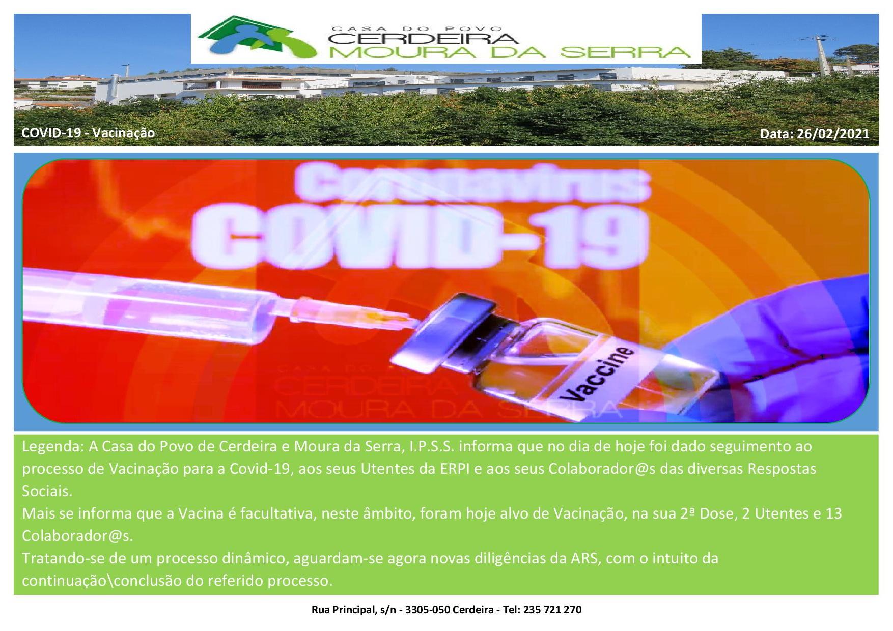 Casa do Povo de Cerdeira e Moura da Serra, I.P.S.S. – Vacinação 3 (Covid-19)