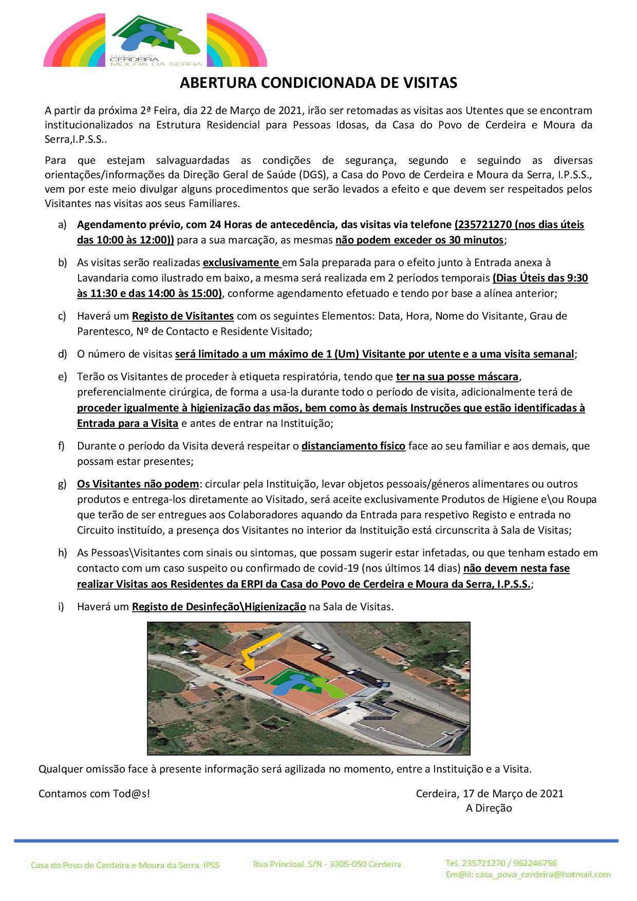 ABERTURA CONDICIONADA DE VISITAS (MARÇO 2021)
