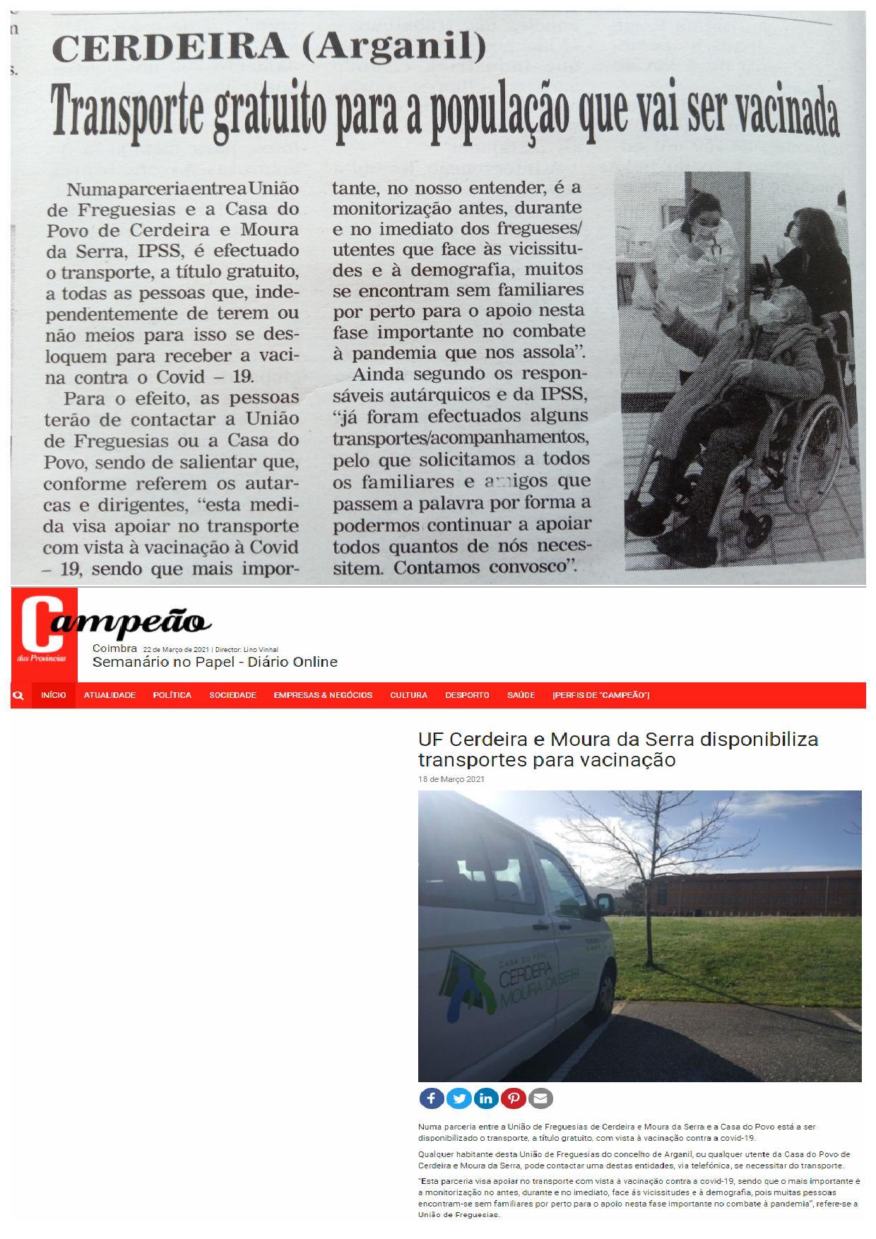 Casa do Povo de Cerdeira e Moura da Serra, I.P.S.S. – Parceria com a U. Freguesias de Cerdeira e Moura da Serra foi Notícia na Imprensa Regional
