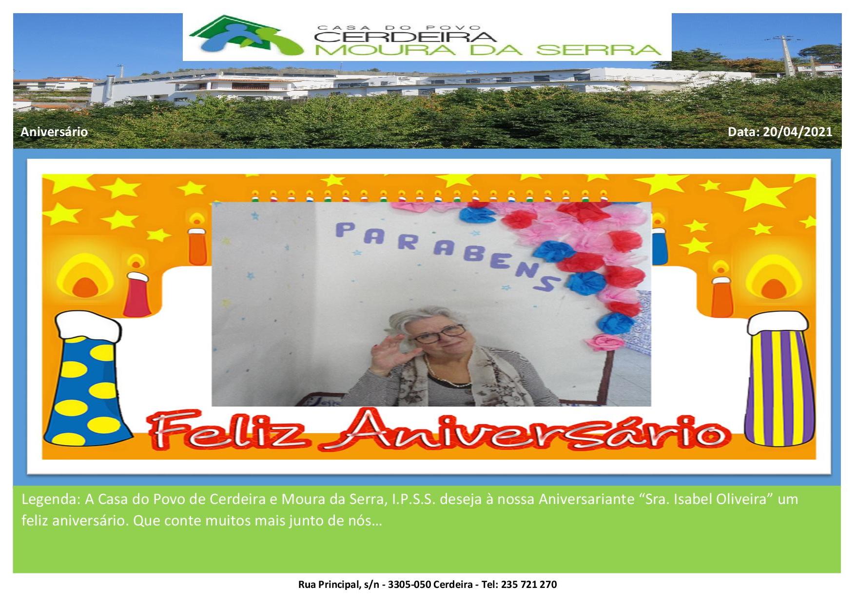 """Feliz Aniversário à nossa Aniversariante """"Sra. Isabel Oliveira"""""""