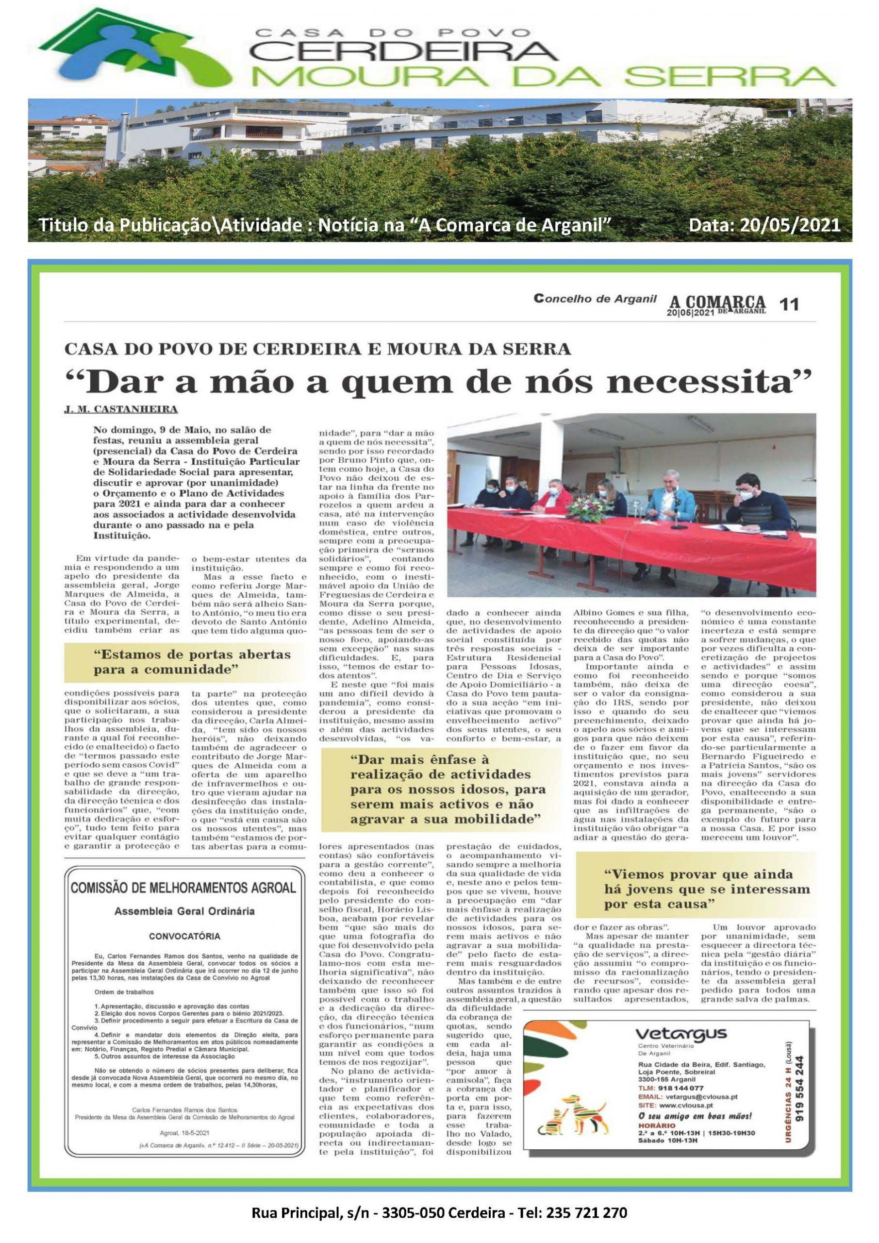 """Casa do Povo de Cerdeira e Moura da Serra, I.P.S.S. foi notícia no Jornal """"A Comarca de Arganil"""" em 20/05/2021"""