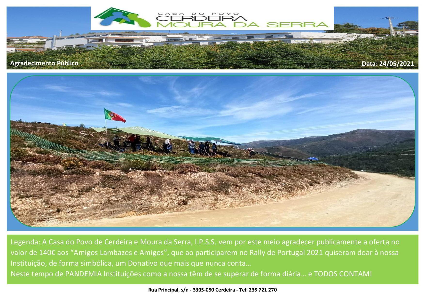 """Casa do Povo de Cerdeira e Moura da Serra, I.P.S.S. – Agradecimento Público aos """"Amigos Lambazes e Amigos"""" em 24-05-2021"""