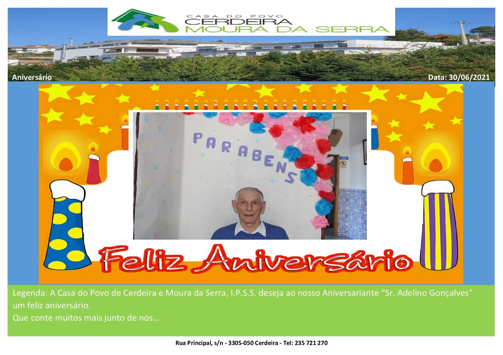 Aniversário Sr. Adelino Gonçalves em 30/06/2021