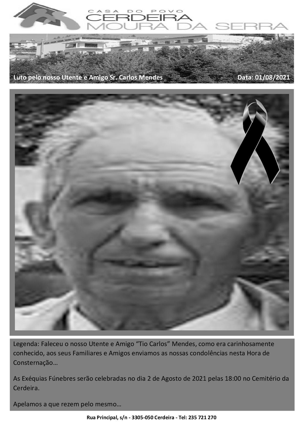 """Faleceu o nosso Utente e Amigo """"Tio Carlos"""" Mendes"""