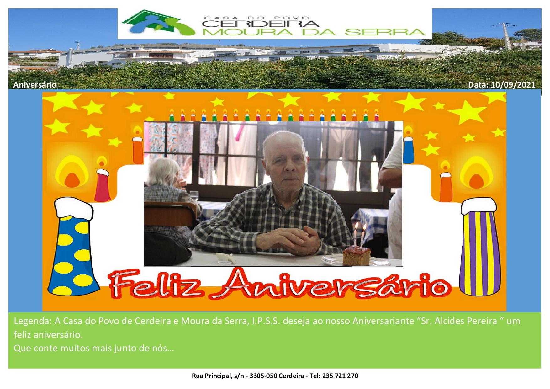 """Feliz Aniversário """"Sr. Alcides Pereira"""" em 10/09/2021"""