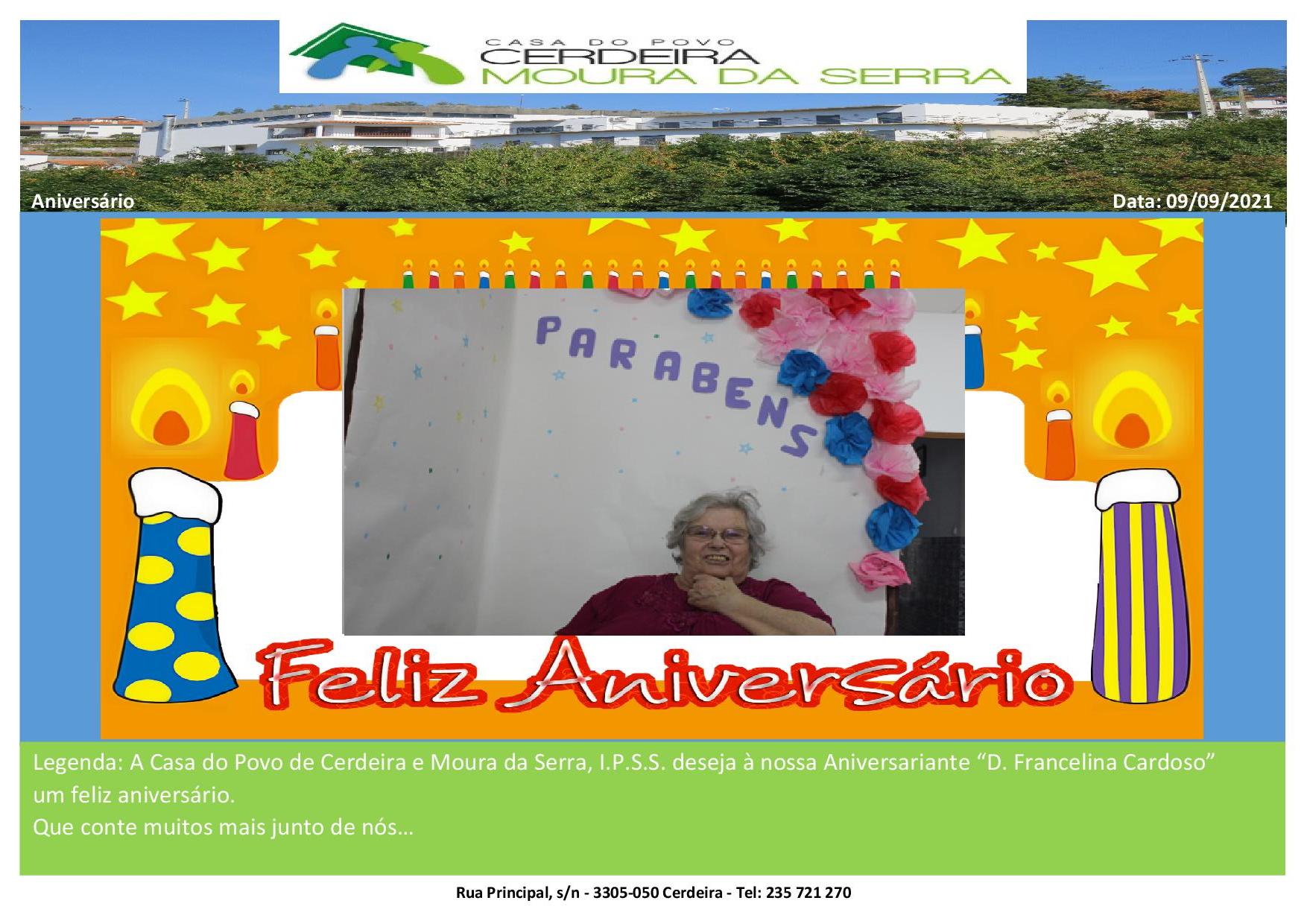 """Feliz Aniversário """"D. Francelina Cardoso"""" em 09/09/2021"""